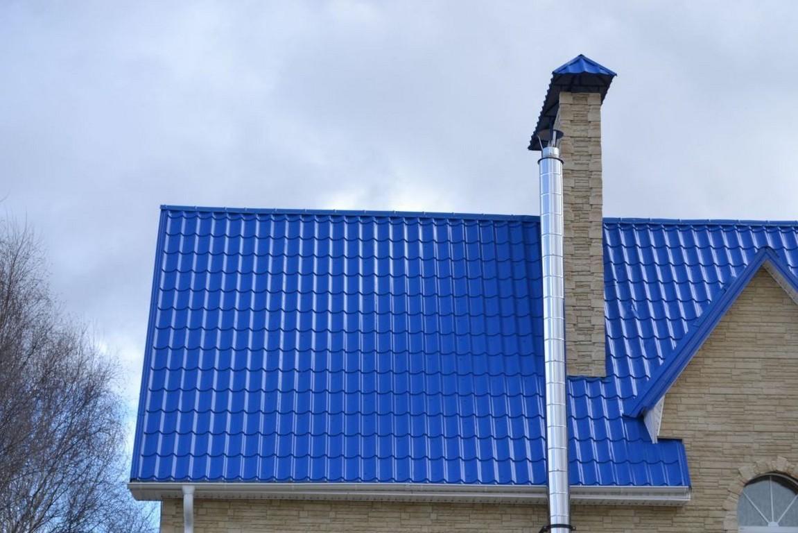 Металлочерепица синяя фото домов
